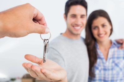 First-time buyers getting keys to their new home