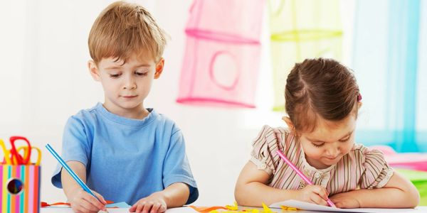 two children, drawing, writing, coloring, learning, playing, creativity