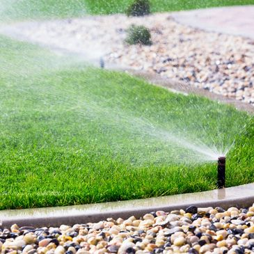 Irrigation drainage photo with sprinklers