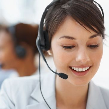 customer service person wearing a headset