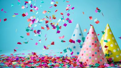 birthday party confetti and birthday party hats