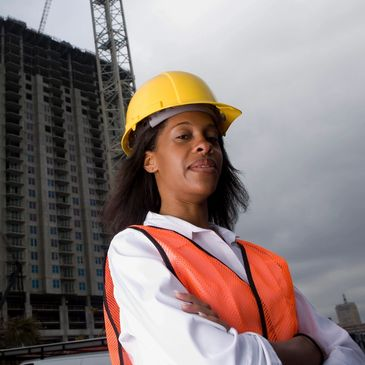 African American female construction foreman ensures quality control on project in Washington DC