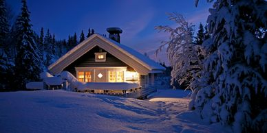Ski lodge at night