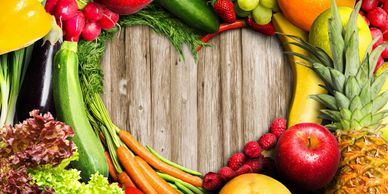 heart, vegetables, fruits, bright colors