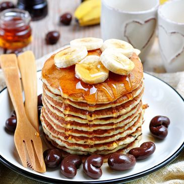 Breakfast  Pancakes whole wheat pancakes Barry Sears Lose weight Balanced meals protein carbs