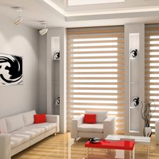 Faux wood blinds an elegant look for your living room.