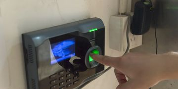 Biometric Access Control index finger on finger print scanner
