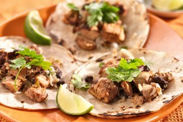 Soft Tacos with limes and cilantro