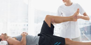 Sports massage remedial massage stretching tight hamstrings tight calves