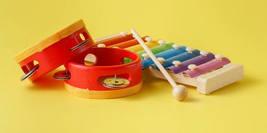 Children musical instruments ready for a group music lesson