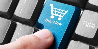 online shopping experience shown as enter button on the keyboard as a buy now button