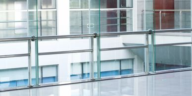 Custom handrails, heavy glass handrails, heavy lami glass handrail, laminated glass handrails,
