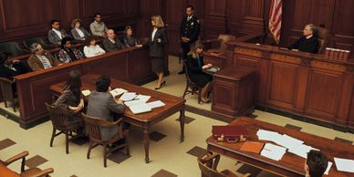 Courtroom during trial