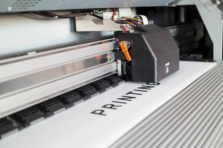 Close up photo of a custom printing machine.