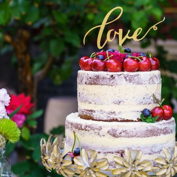Custom naked wedding cake