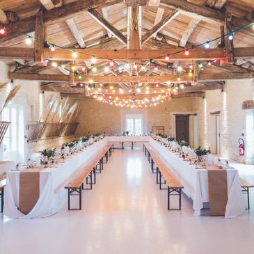 Farmhouse wedding reception