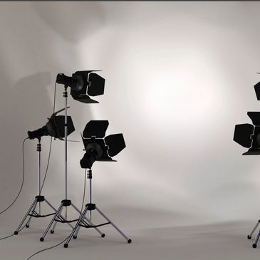 Photography studio lights with white background