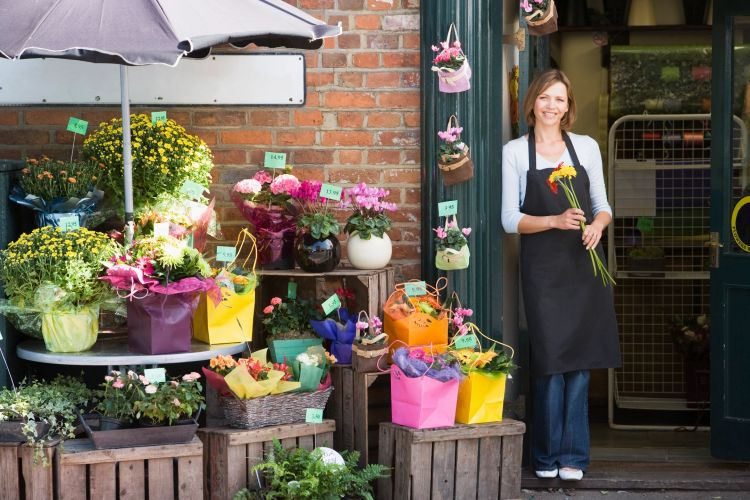 florist shop with flowers displayed