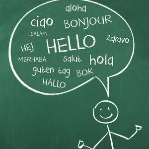 "Stick figure with comment bubble saying ""hello"" in different languages"