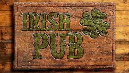 Wooden Irish pub sign  with green copy