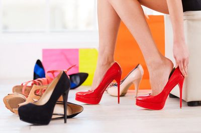 Red and black high heels.
