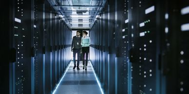 Man and woman in Data Center