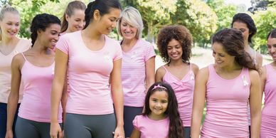 Women wearing pink for breast cancer awareness