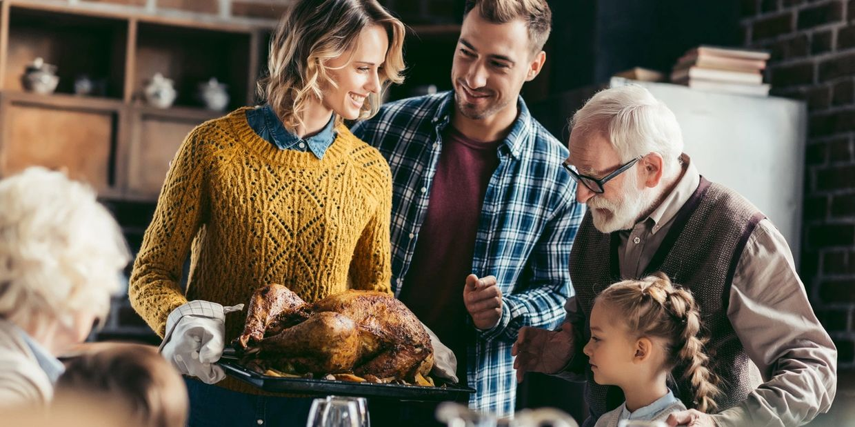 thanksgiving meal, holiday meal, Christmas meal, family gathering, grandparents, turkey, generations