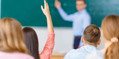 Raising hand to answer question, education, class