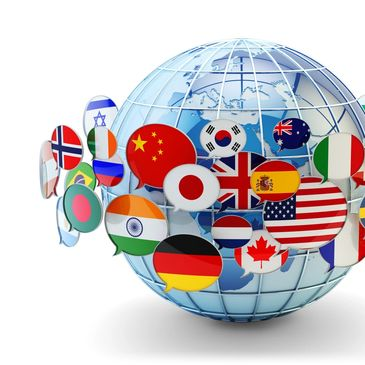Globe with multiple flags surrounding it. 100 currencies are supported through our systems