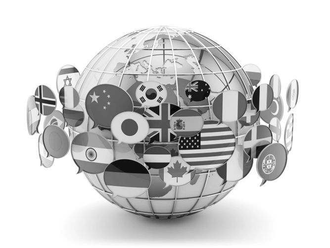 world globe with international flag speech bubbles