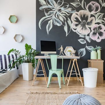 home decor featuring black and white with green as the pop color
