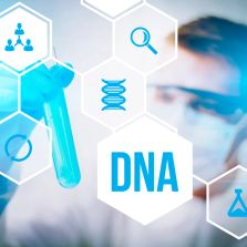 A graphic with a medical professional holding a test tube in the backgound, an image of DNA in front