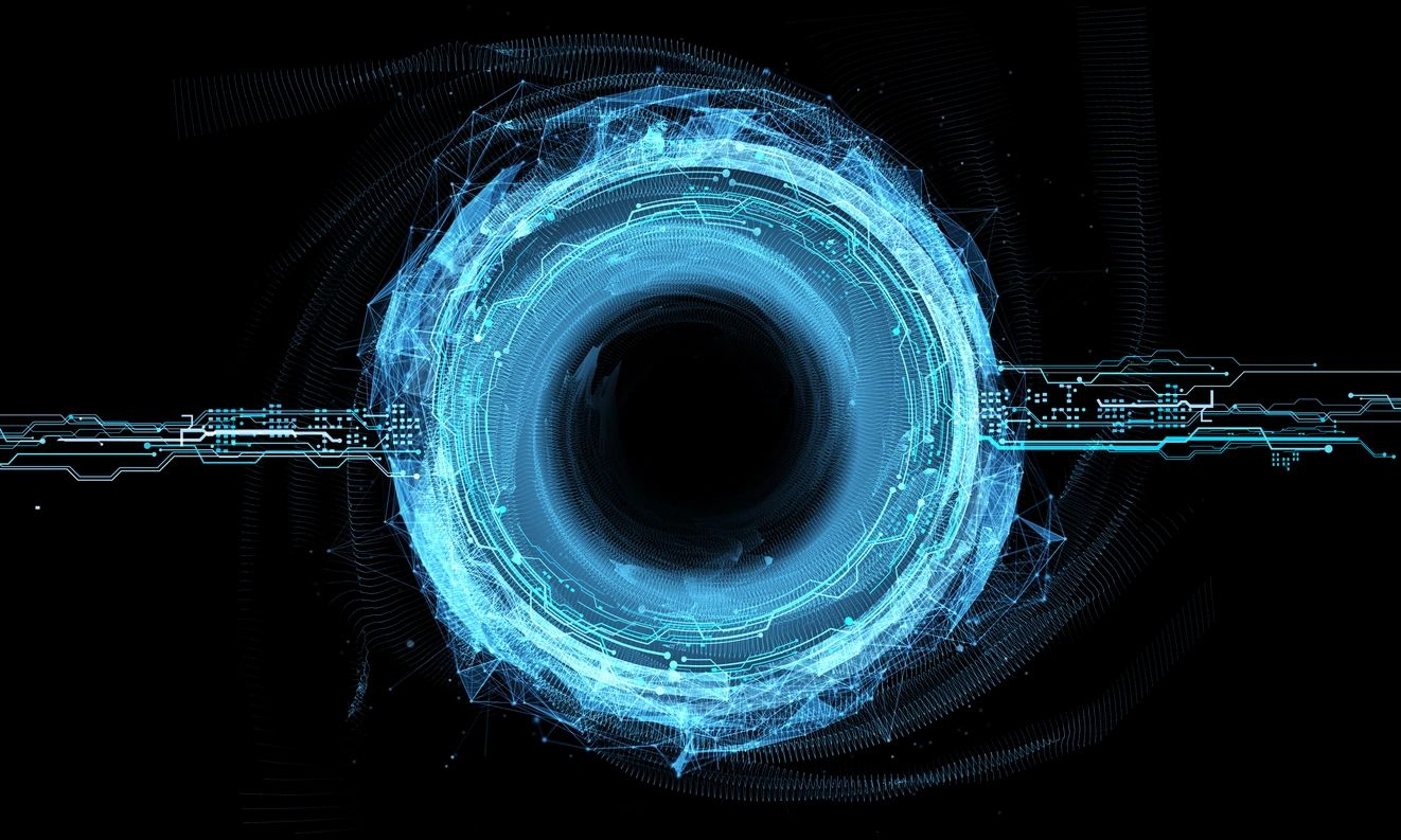 A light blue swirling void of computer codes acting like a black hole.