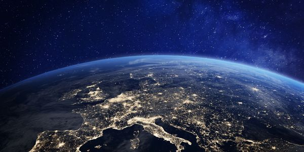 In space view of Europe during night
