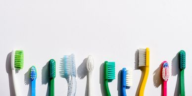 Image of toothbrushes used to keep teeth clean. Proper use is shown during a dental cleaning.