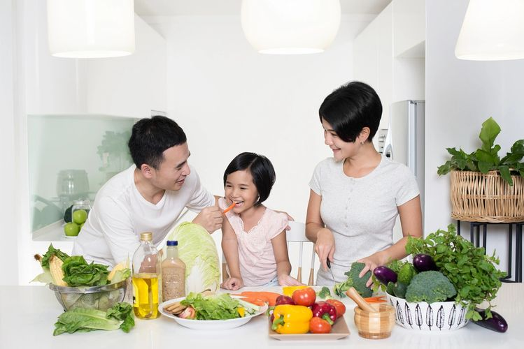 Here is a family enjoying natural foods taking care of their better scientific nutrition.