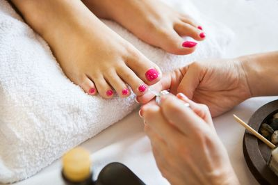 Pedicure treatment application of polish or Gelish