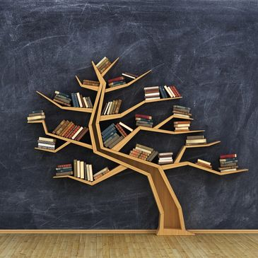 Wooden tree with books on each branch