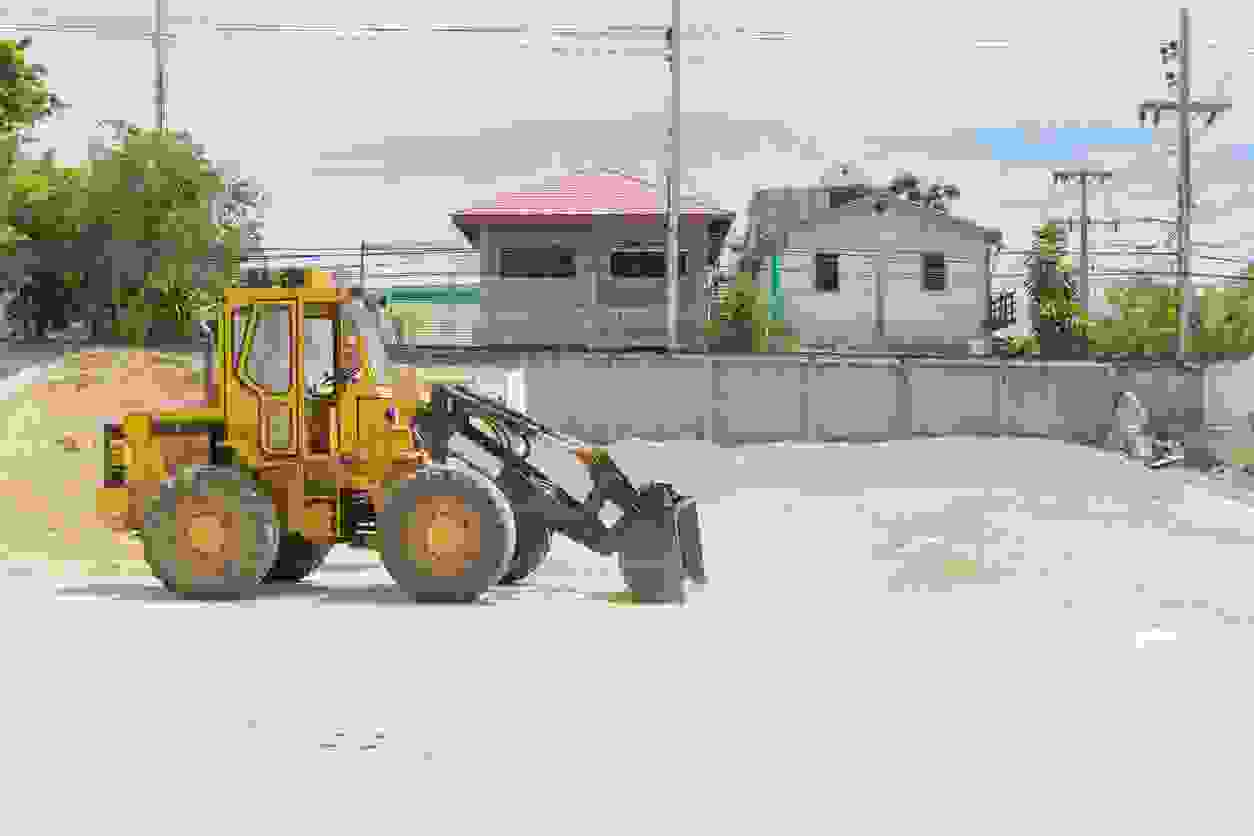 Loader in use at residential site
