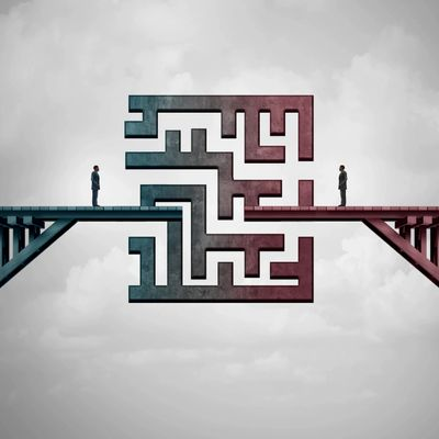 A surreal art image-looks like two people on opposite sides of a bridge that's a maze in the middle.