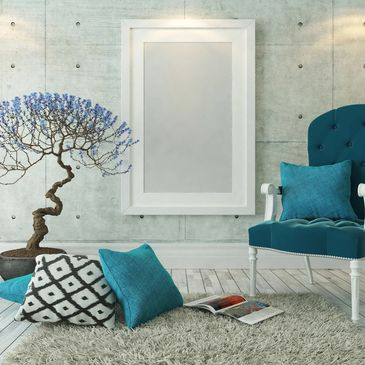 blue tree, chair, and pillow