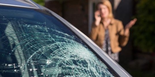 Don't drive with a cracked windshield.