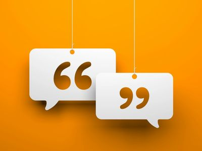 Quotes shown in chat boxes on an orange background