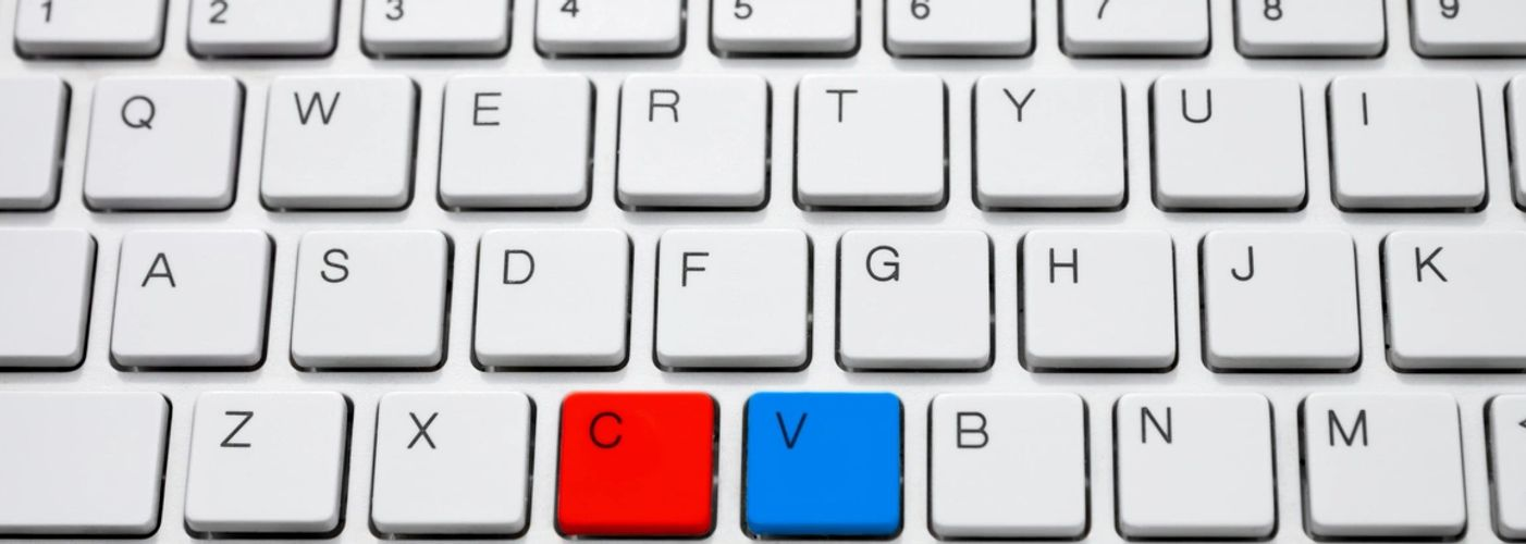 keyboard with red C and Blue V