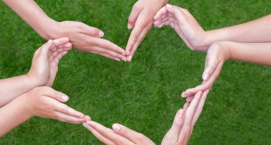 Several sets of hands configured to form a heart, background of green grass