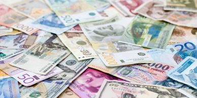 Paper currency from different countries.