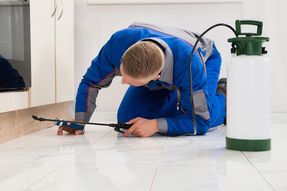 Pest Control Technician down on his knees fulfilling a pest control service