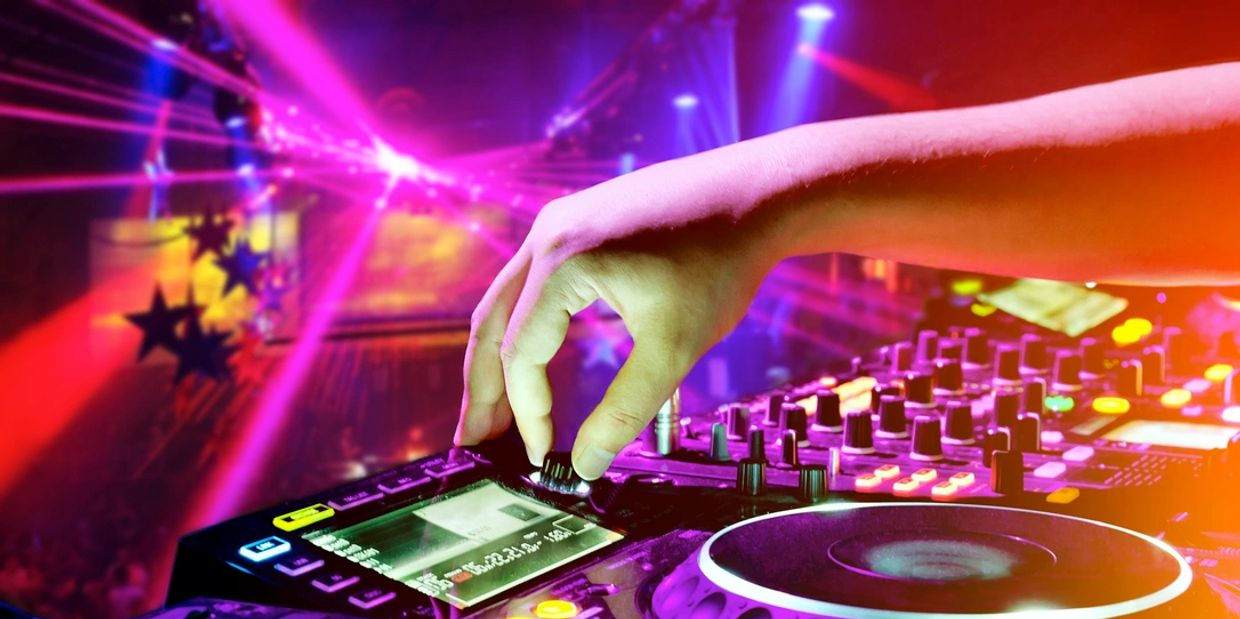 DJ Disc Jockey Dancers Decor Lighting Up Lights Green Screen Photo Booth Audio Visual Games Planning