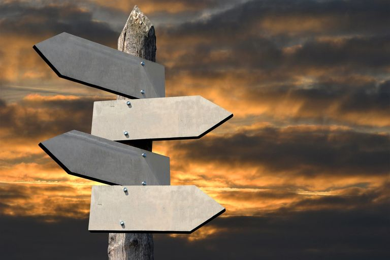 sign post with directions arrows.  Background a cloudy sky lit by the morning sun.  Divorce Coach